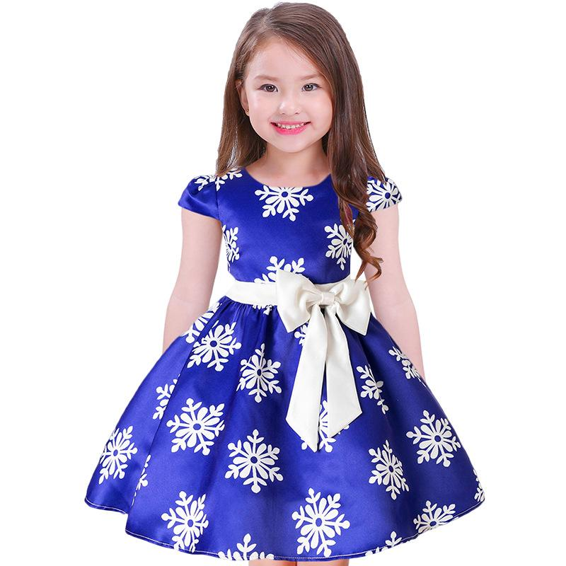 ea6abdfd9 Christmas Baby Girls Dresses Children Snowflake Printed Dresses With ...