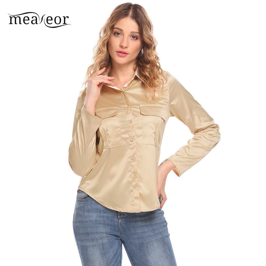 90a9686b38ab3e 2019 Meaneor Roll Up Sleeve Women Shirts Blouse Solid Casual Loose Women  Blouse Top Button Down Shirt With Pocket Autumn Shirts From Edwiin04
