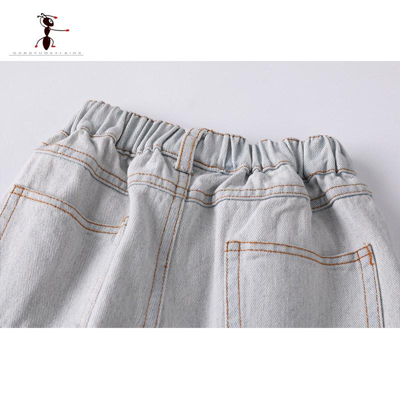 Kung Fu Ant 2018 White Boys Jeans Distrressed Casual Denim Pant Trousers for Children Fashion 81505