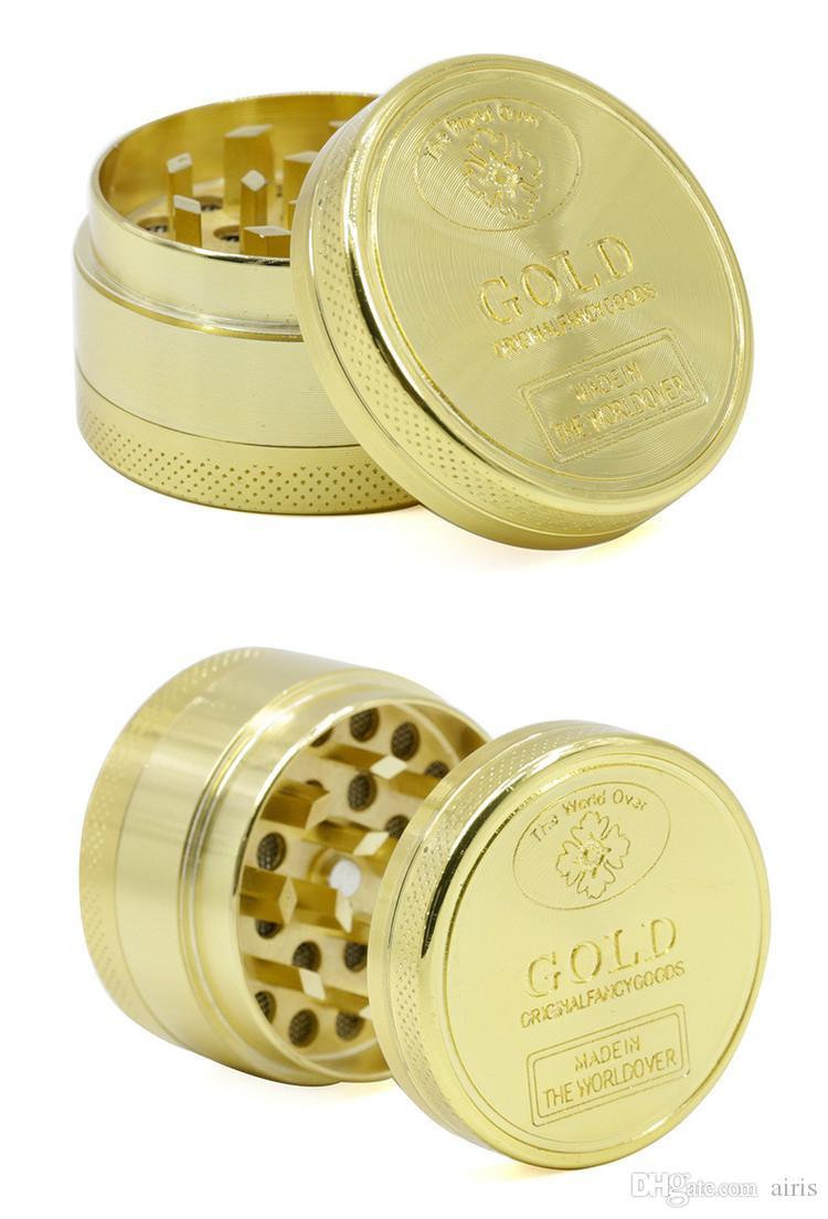Herb Grinder 50mm diamètre or couleurs 4 partie alliage de zinc en métal OEM logo