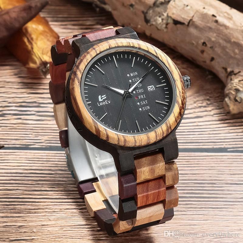 LeeEV Marka Saatler EV1010 Karışık Ahşap saatler el yapımı Ahşap Saatler hafif kuvars bilek İzle japonya hareketi ile hediye kutusu