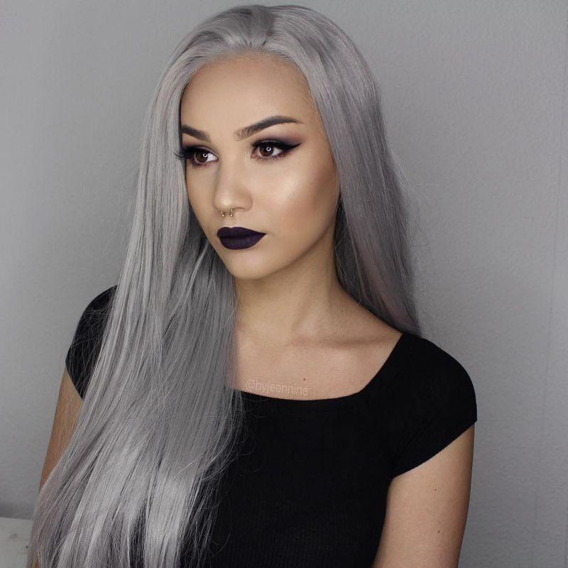 Parrucca Silver Grey capelli umani parrucche piene del merletto donne di colore 10