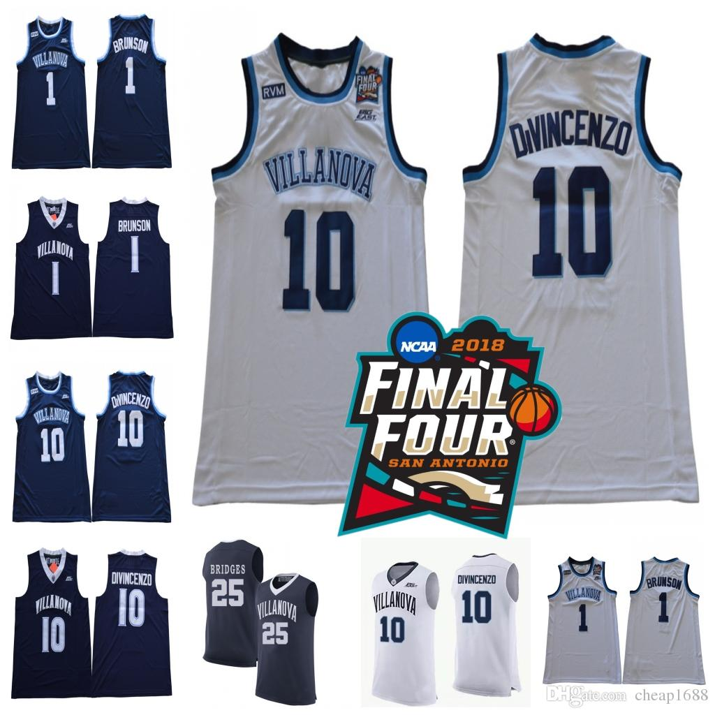 2019 2018 Final Four Villanova Wildcats  10 Donte DiVincenzo 1 Jalen  Brunson 25 Mikal Bridges NCAA Champions Stitched Basketball Jersey From  Cheap1688 eae6f5225