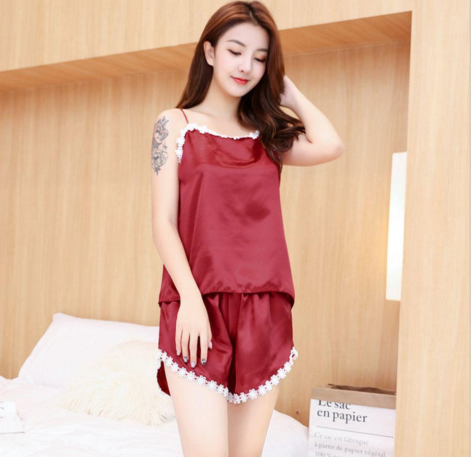 2019 Women Korean Style Pajamas Women Lace Pyjama Satin Sleepwear Set  Nightwear Girl Homewear Lingerie Sexy Summer Nightwear From Stunning88 9b666e4c6