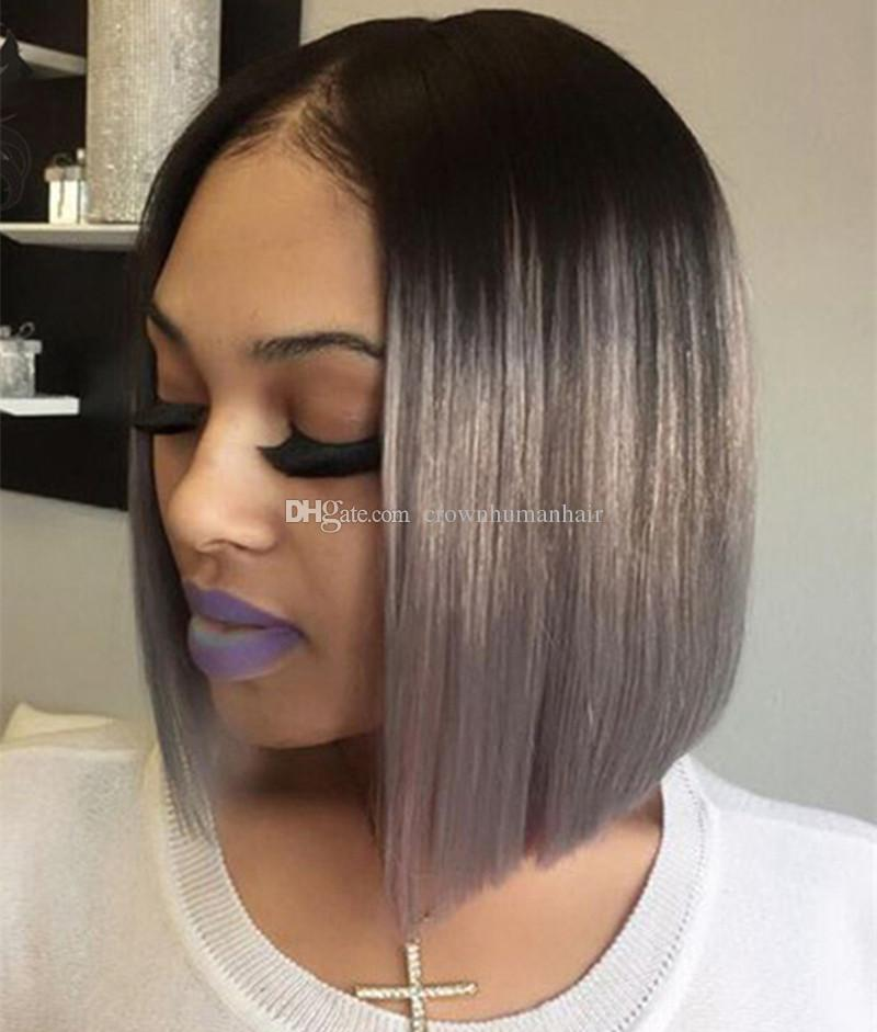 Ombre Gray Lace Front Human Hair Wig With Black Roots Grey Short Bob