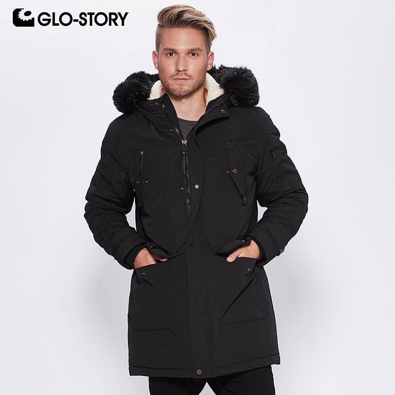 d9647b22a 2019 GLO STORY 2018 New Men S Faux Fur Hood Long Winter Coats Washed ...