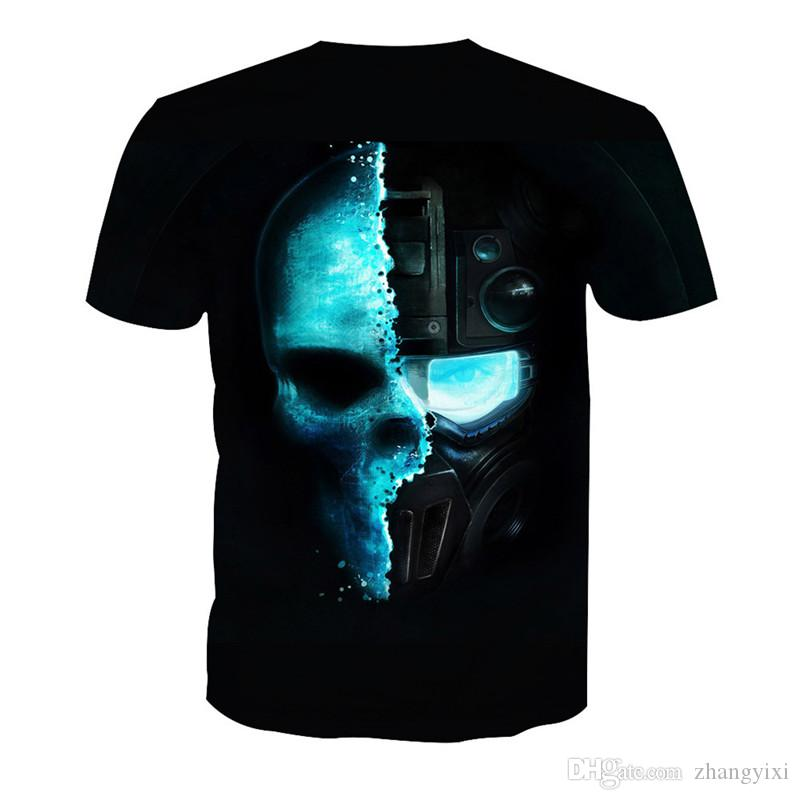 Wholesale New Design 3D Fire Skull Mask Printed Men Women Streetwear T shirt Tees Clothing 6XL