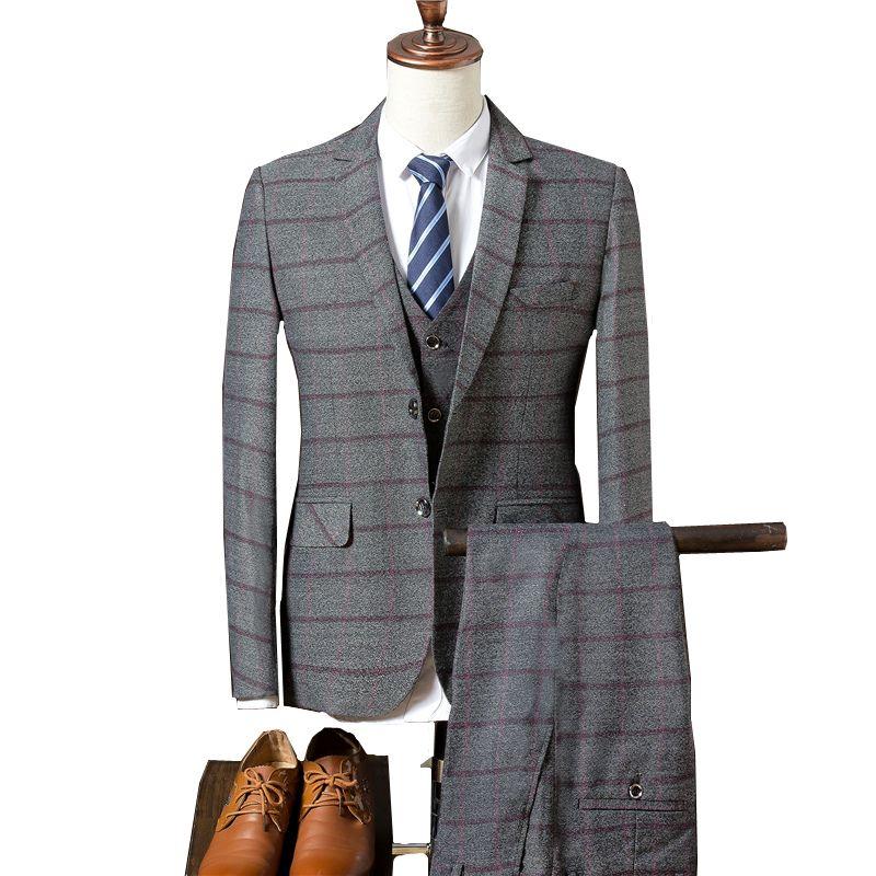 8ff051458b Completo da uomo in cotone scozzese Set da 3 pezzi (giacca gilet pantaloni)  Blazer autunno nuovo uomo Cappotto S-3XL Completo da uomo nero e blu