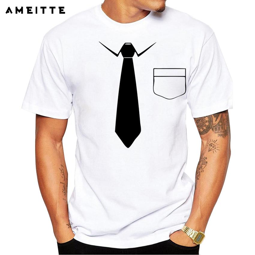 b3707c7c 2018 Ameitte Funny Fake Tie T-shirt Men's Hipster Custom White Printed T  Shirt Summer Casual Streetwear Tops Tee