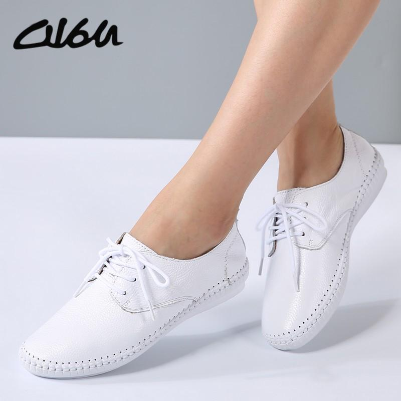 2019 O16U Summer Women Espadrilles Ballet Flats Shoes Leather Lace Up Soft  Comfortable Ladies Casual Shoes Peach White Black B16 Sneakers Ladies Shoes  ... b1412a65696