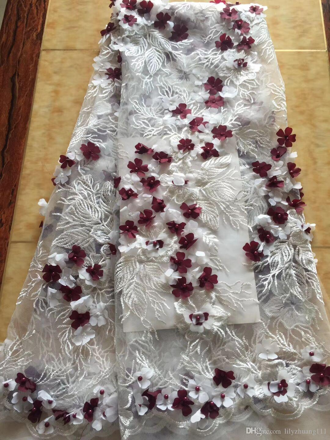 frican Lace Fabric High quality New arrival water soluble net African french lace fabric with drill and beads for wedding