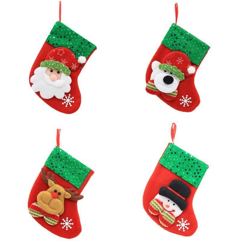 Buon Natale Ornament.Calze Di Natale Buon Natale Decorazioni Borse Calzini Classic Candy Bag Hanging Ornament