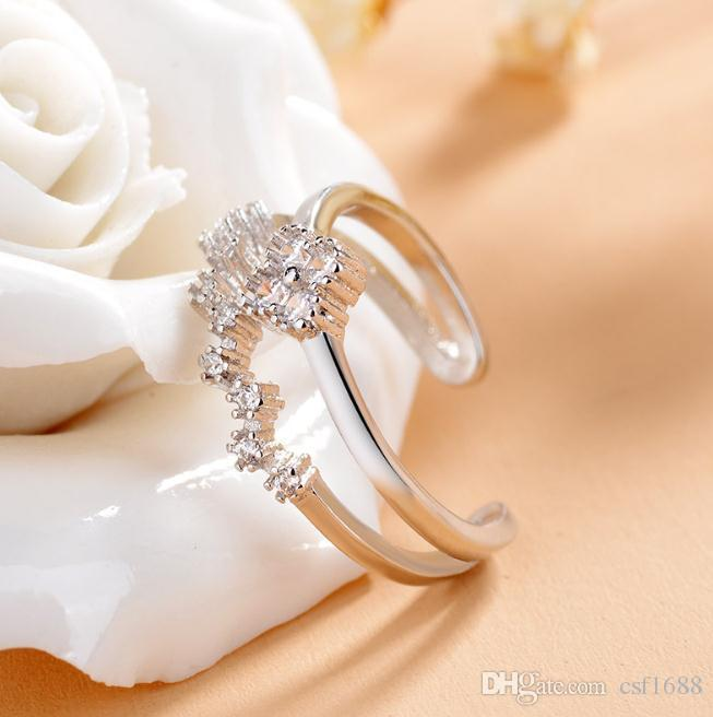 Female micro clover opening ring can mix and match wear high-end atmosphere fashion simple classic ring