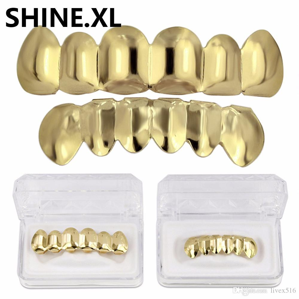 Neue Custom Fit 14 karat Vergoldet Hip Hop Zähne Grillz Caps Top Bottom Grill Set Halloween Party Körperschmuck