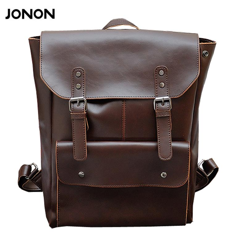 79e25ac6f811 Jonon Mens Leather Bag Men Travel Backpack School Bag College Vintage Waxy  Leather Laptop Backpacks For 13 Inch Cute Backpacks Hiking Backpack From  Smart78