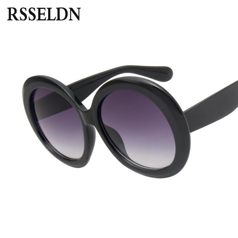 bb8aa44d37 RSSELDN Fashion Oversized Sunglasses Women Vintage Brand Designer Big Size  Round Sun Glasses For Women Black Green UV400 Shades Native Sunglasses  Wholesale ...