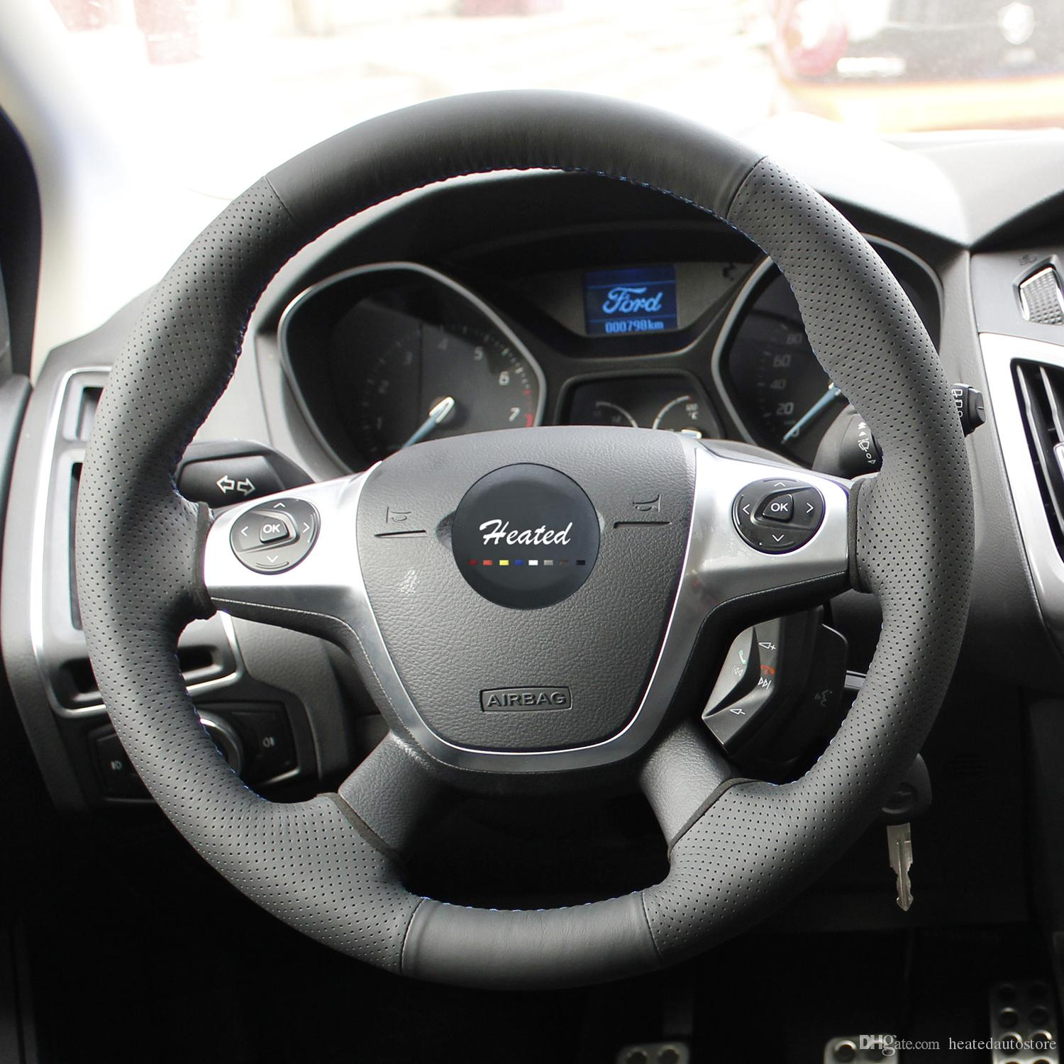 Nappa Leather Auto steering wheel cover for Ford Focus 3 2012-2014 KUGA Escape 2013-2016 car styling braid on the steering wheel