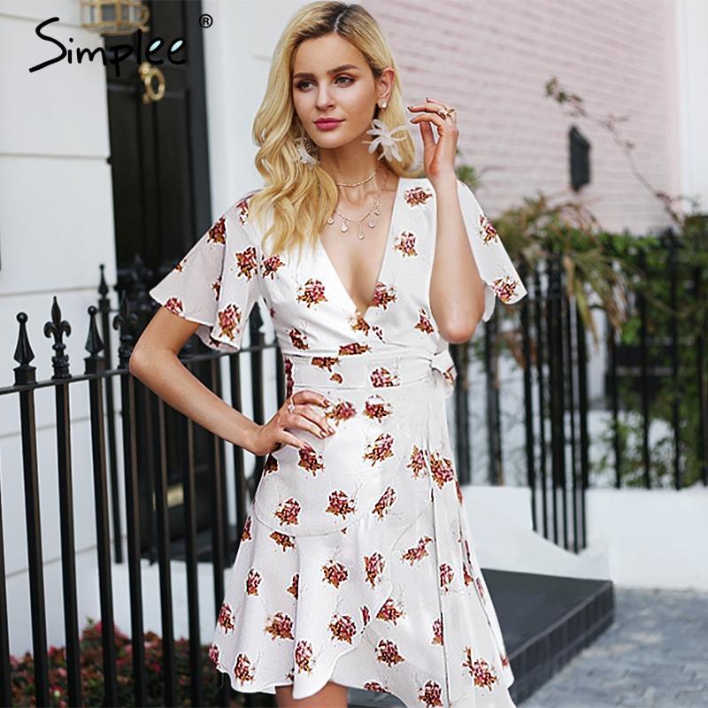 e65fd9258a 20187 Simplee Boho Floral Print Wrap Short Dress Women V Neck High Waist  Chiffon Mini Dress Ruffle Sleeve Summer Beach Sexy Dress 2018 Best Dresses  Long ...