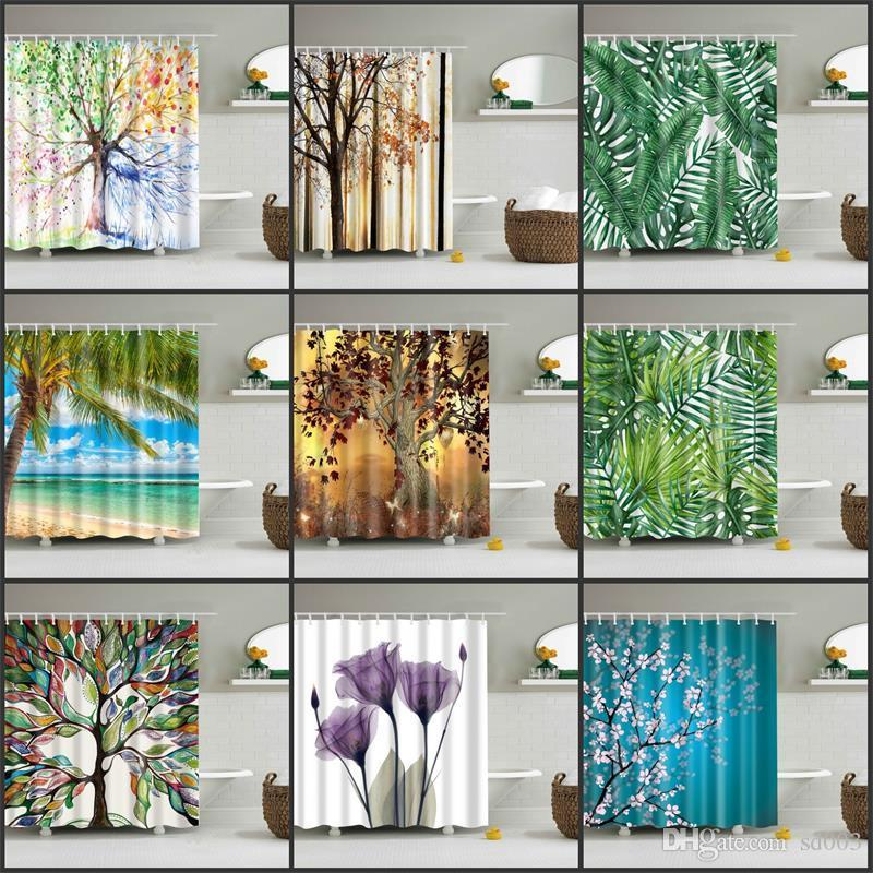 Green Plants Shower Curtain Trees