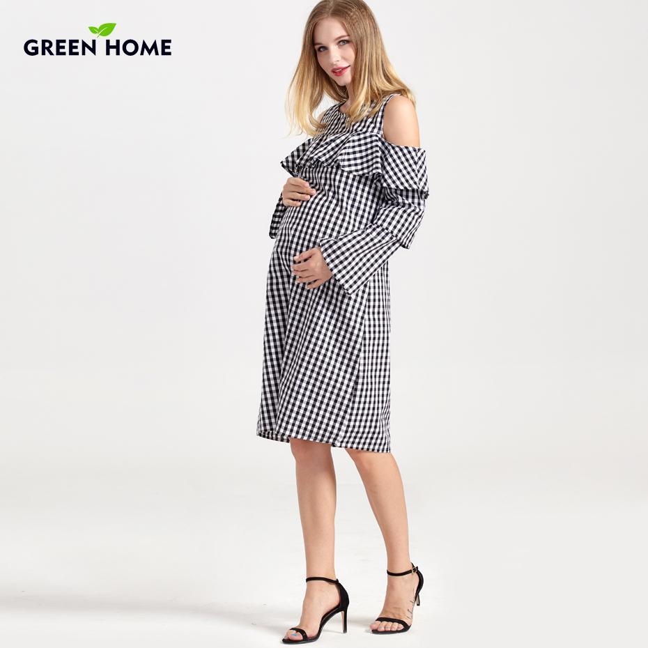 018ac31bb Compre Casa Verde De Verano De Lactancia Materna A Rayas Vestido De  Lactancia Agujero Plaid Casual Vestidos De Embarazo Para Mujeres Ropa De  Maternidad A ...