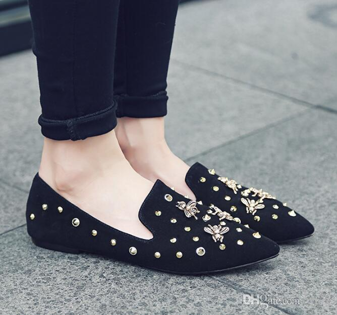 2018 New Fashion Sexy Women Dress Shoes Flat Shoes Pointed Rivet