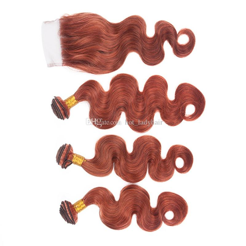 Color 33 Dark Auburn Hair Bundles with Lace Closure Copper Red Brazilian Body Wave Virgin Hair Weaves with Free Part Closure