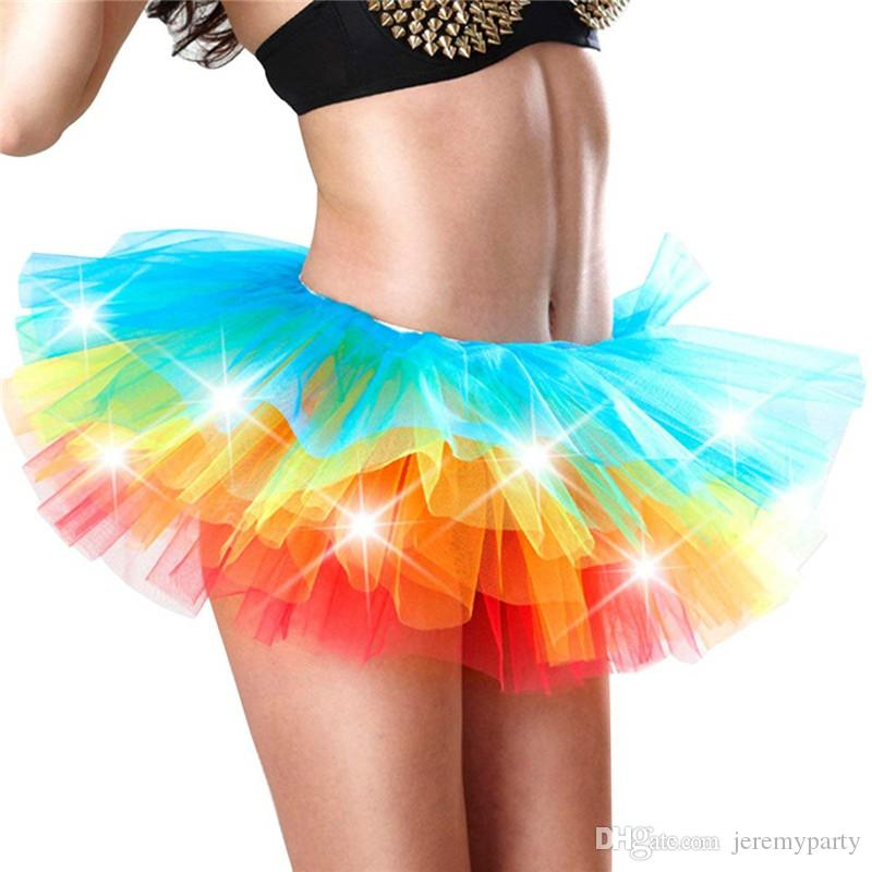 Women's Mini Tutu Skirt Rainbow with Led Light up Tulle Costume Party Dance Show Nightclub Christmas Halloween Party Dress up