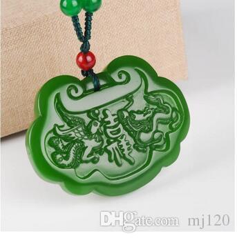 Outer Mongolian material and tian jade jasper long life lock pendant dragon  and phoenix lucky baby lock pendant