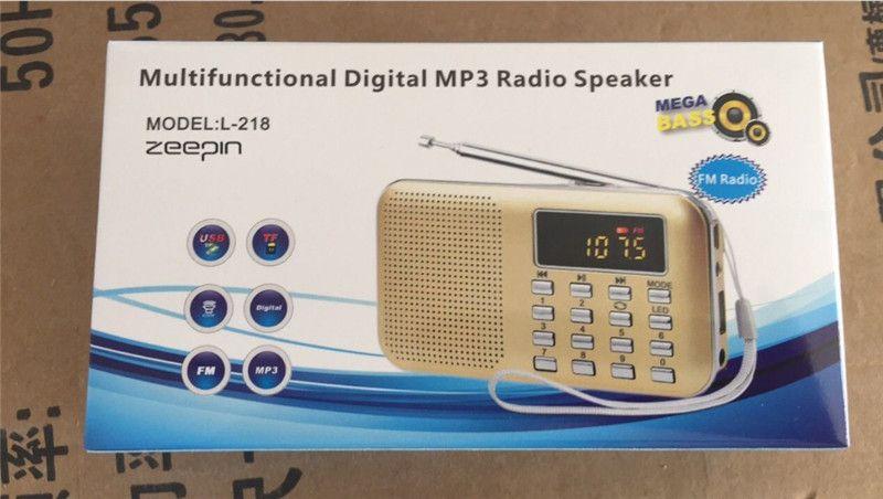 2018 Novo Portátil Mini LCD Estéreo Digital FM Rádio Speaker USB Cartão TF Mp3 Music Player com Luz LED e Bateria Recarregável