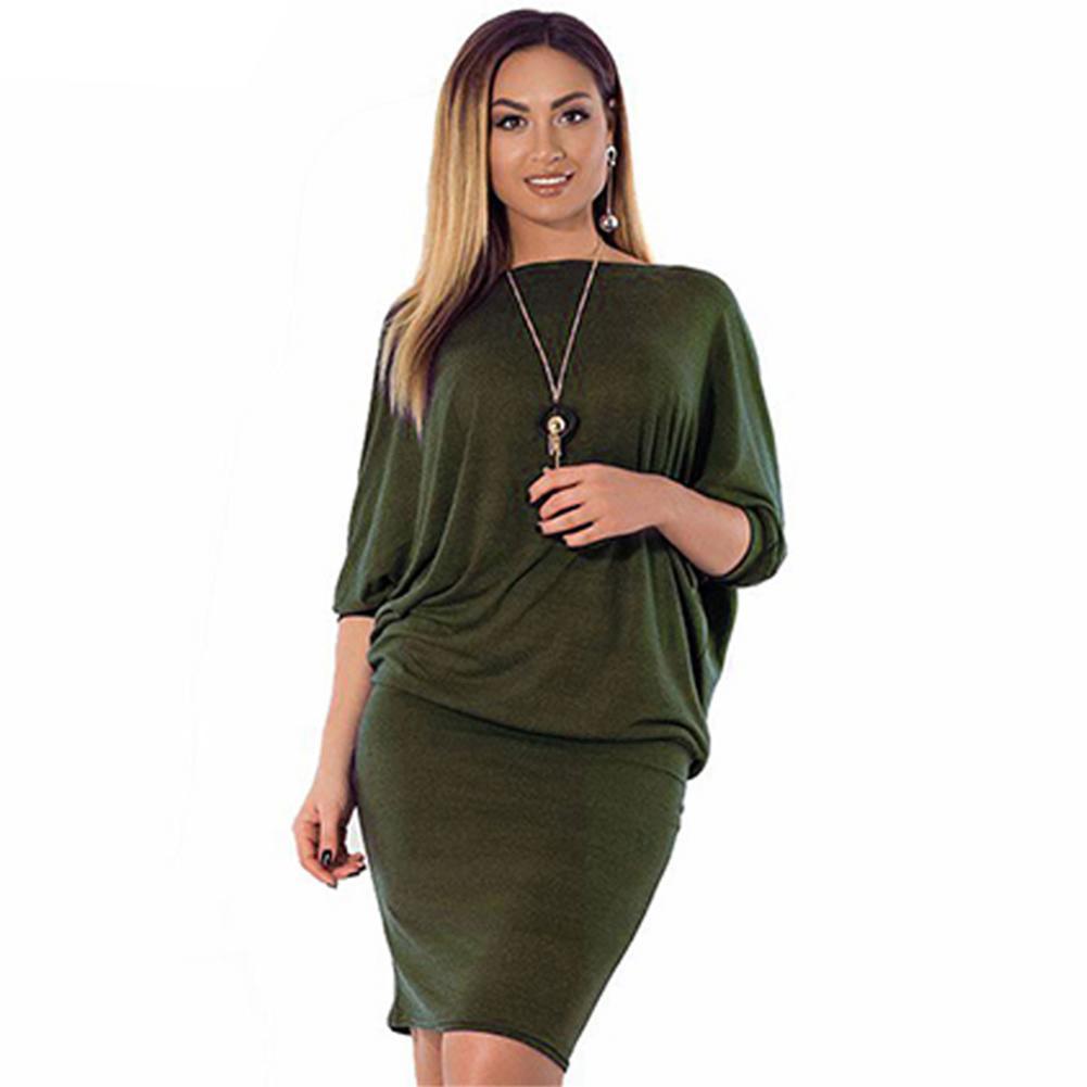 461fdb017a4f9 Satın Al Artı Boyutu Bayan Giyim 5XL 6XL Moda Katı Büyük Boy Elbise O Boyun Batwing  Kollu Zarif Ofis Çalışması Gevşek Mini Elbise Ropa, $36.86   DHgate.