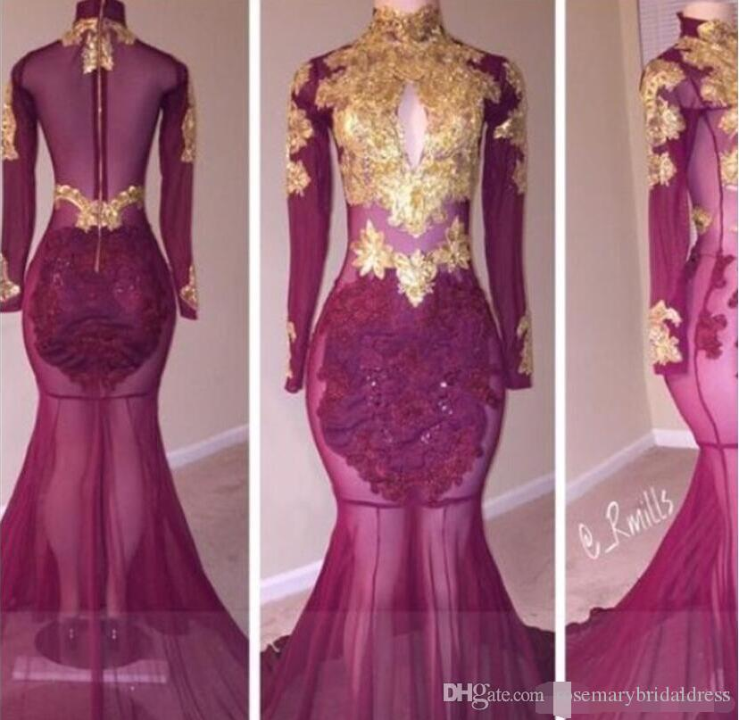 643928cc4170 2018 Long Sleeves Prom Dresses Mermaid Golden Lace High Collar Sexy African Formal  Evening Gowns Illusion Slay Black Girls Party Dress Plus Size Formal ...