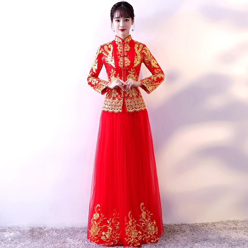 Red embroidery Cheongsam Sexy Qipao Dresses Long Chinese Traditional Wedding Dress Oriental Wedding Gowns Bride Traditions