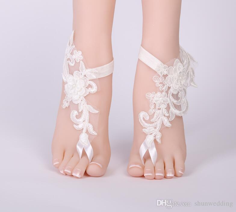 df9bf9482297a Wedding Lace flower Barefoot Sandals Beach Anklet white Sexy foot Jewelry  Wedding Shoes for bridal bridesmaid wedding party accessories