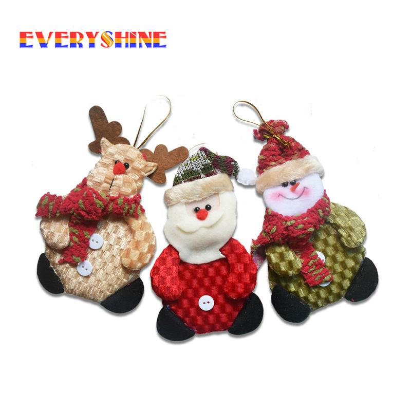 Bulk Of Sale 24Pcs /Lot Santa Snowman Dolls Christmas Decoration Pendants Christmas Tree Hanging Ornaments Supplies Sd 233
