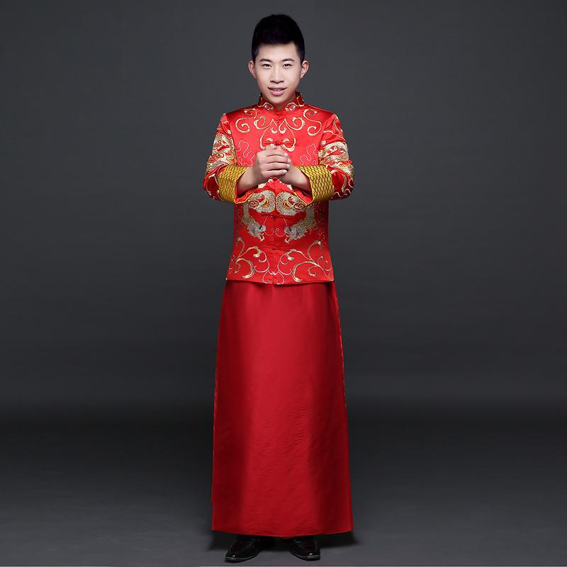 4ac4db4fb 2019 Red Groom Wedding Suit Traditional Chinese Clothes Men Cheongsam Tang  Robe Man Ancient China Dynasty Costume Clothing Hanfu From Donahua, ...
