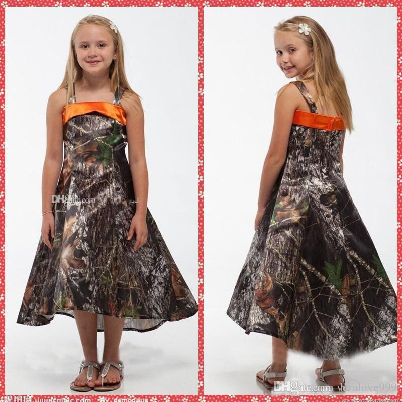 a0e4364931a Spaghetti Strap A Line Camo Flower Girls Dresses Tea Length Toddler Pageant  Party Gowns Fashion Custom Spring Summer Kids Dresses Dress For Girls  Simple ...