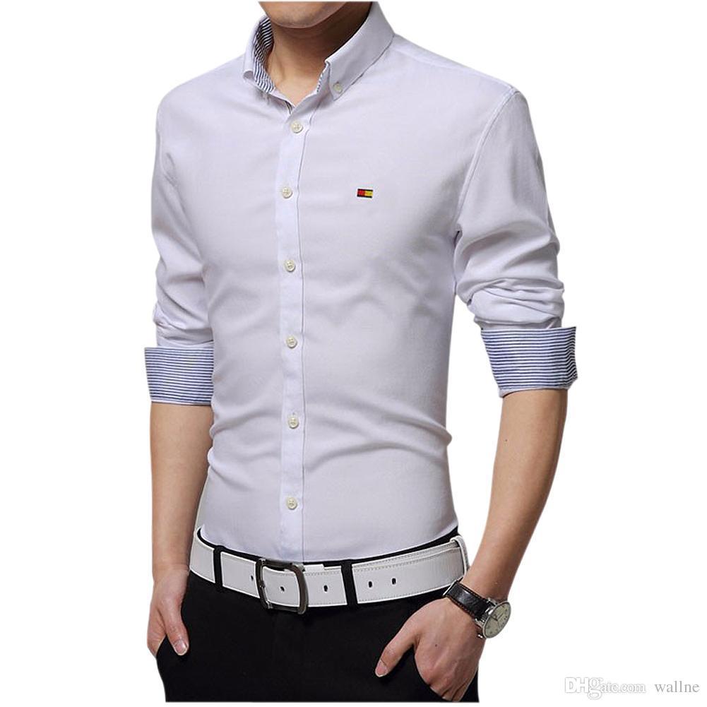 2019 Wholesale Mens Dress Shirts Slim Fit Fashion Long Sleeve Shirt
