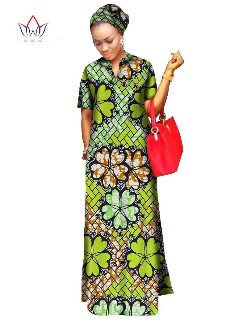 2018 african styles clothing Bohemia maxi dress Women 100% Cotton bodycon bandage Long dashiki Dress Free Head Scarf