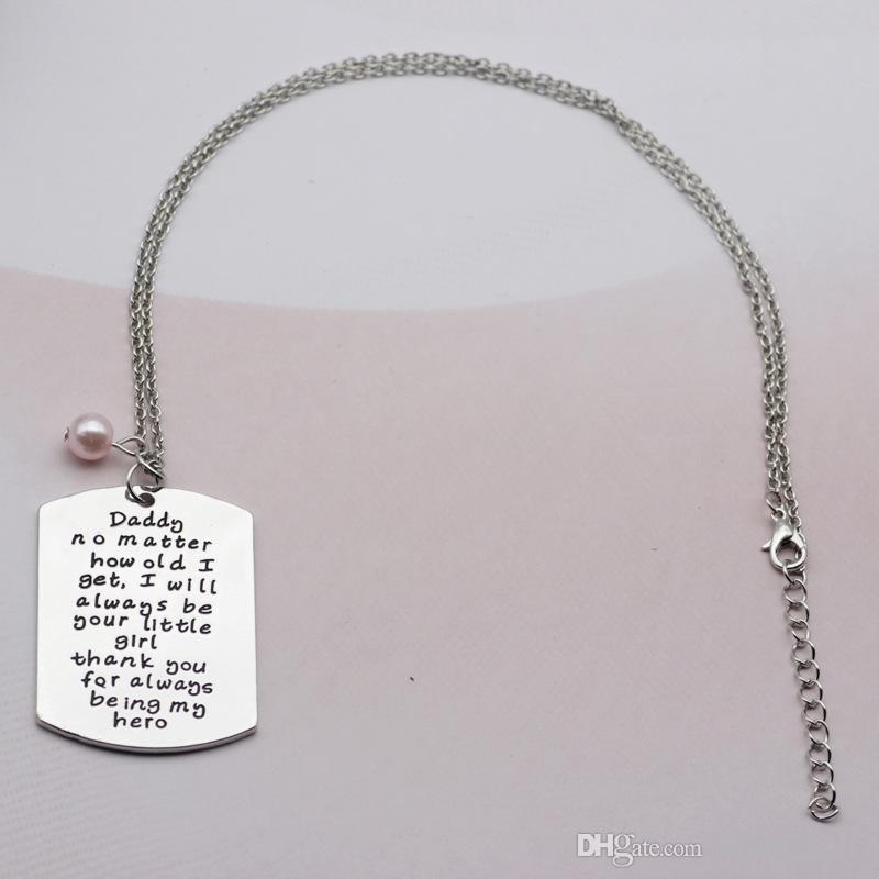 wholesale Daddy no matter how old i get...thank you for always being my hero Charm Necklace For Father Day Gift