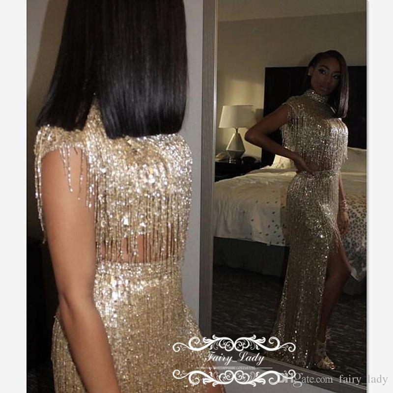 Luxury Champagne Sequined Tassels Two Piece Prom Dresses Red Carpet 2018 Side Split High Neck Mermaid Celebrity Dress Evening Gown