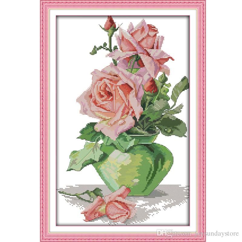 Rose Vase Counted Cross Stitch 11ct 14ct Cross Stitch Set Flower Cross-stitch Kit Embroidery Needlework 4