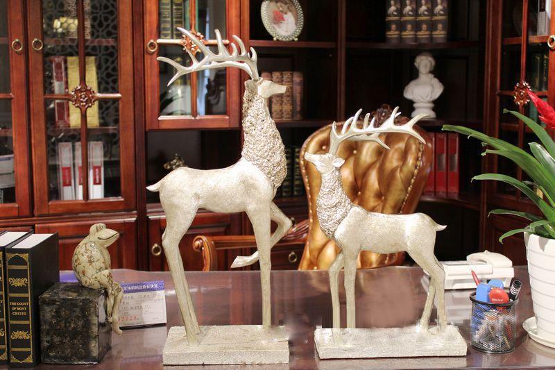 24 بوصة silvercopper اللون زوج من تمثال كبير الغزلان ديكورات المنزل تأثيث هدايا الزفاف الحرف الراتنج تمثال