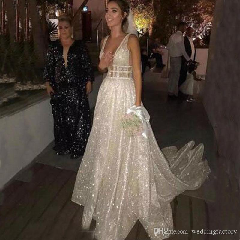 f65d37b7f89 Discount 2018 Sparkly Wedding Dresses Sexy Plunging V Neck Backless Shiny  Glitters Fabric Long Bridal Gowns Custom Made Bride Dresses From China A  Line ...