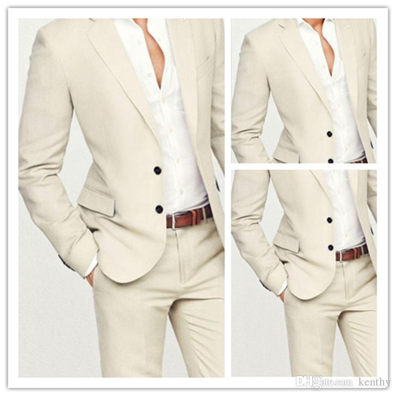 Özel Yapılmış 2018 Yaz Bej Damat Smokin erkek Düğün Balo Plaj Takım Elbise Slim Fit Casual En İyi Adam Sağdıç Suit 2 Parça Blazer + Pantolon