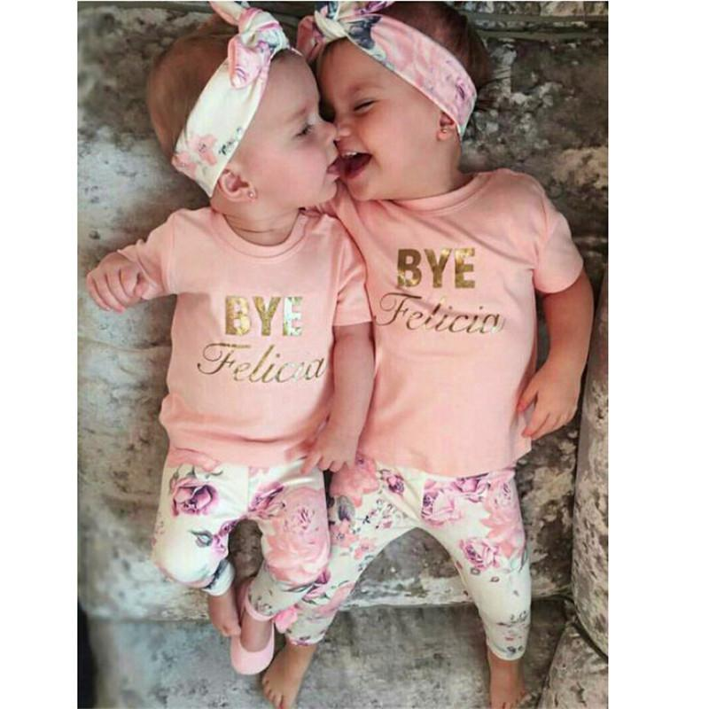 56927e22f 2019 Newborn Baby Girl Clothes Casual Letter T Shirt+Floral Pants ...