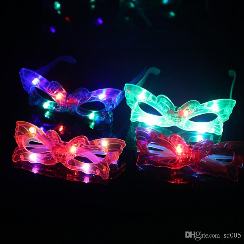 Occhiali luminosi creativi Butterfly Love Heart Spider Man Occhiali da sole a forma di stella a cinque punte LED Light Up Occhiali portatili 2zs B