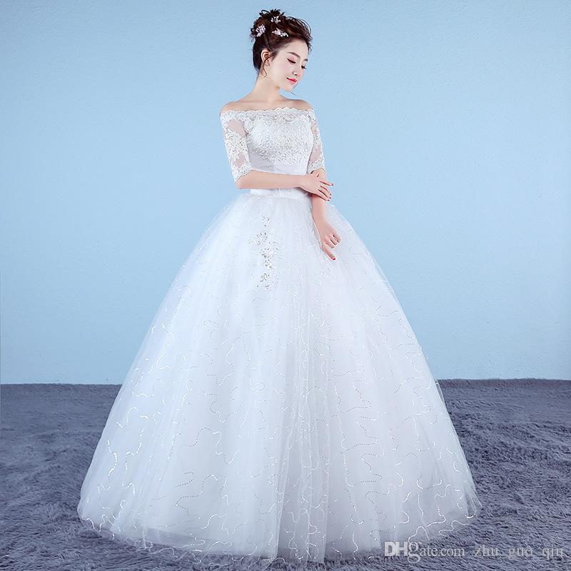 a66a696ec76c4 Satın Al Özelleştirilmiş Beyaz Prenses Basit Gelinlik 2018 Yeni Kore Tarzı  Dantel Yarım Kollu Tekne Boyun Gelin Kıyafeti Vestido De Noiva, $49.75 |  DHgate.