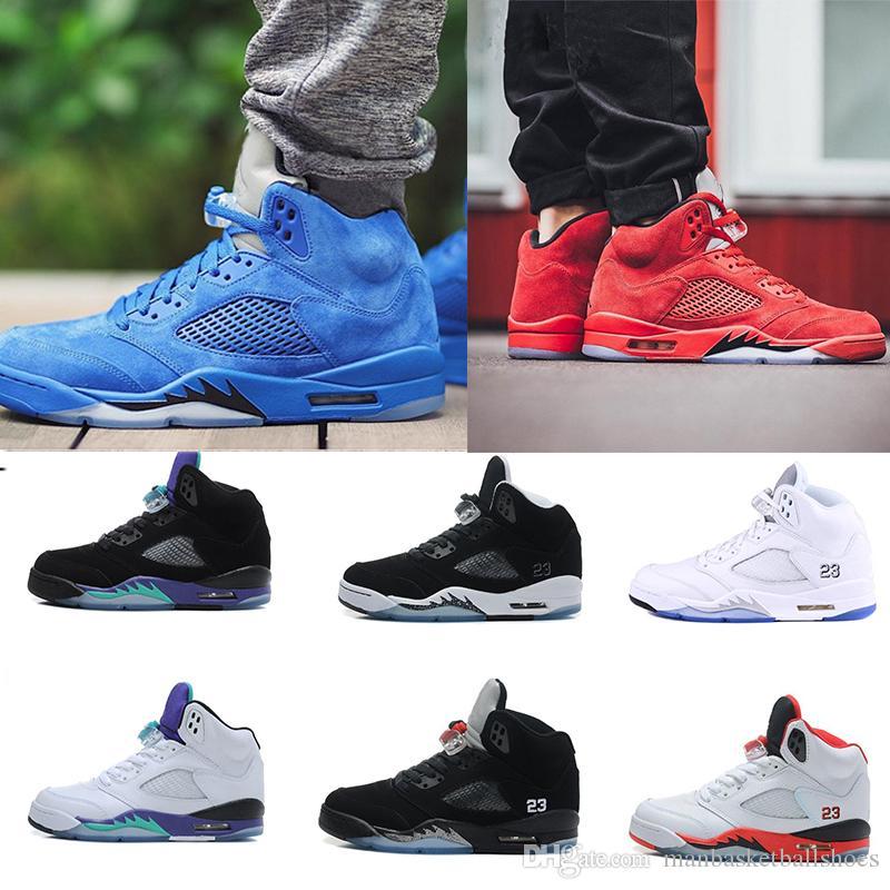 b1f10ba2af Compre Alta Qualidade Mens Sneaker 5 V Sapatos De Basquete Red Camurça  Olímpico Espaço Metálico Atolamentos Touro Azul Casual Esporte Sapatilhas  Sapatos ...