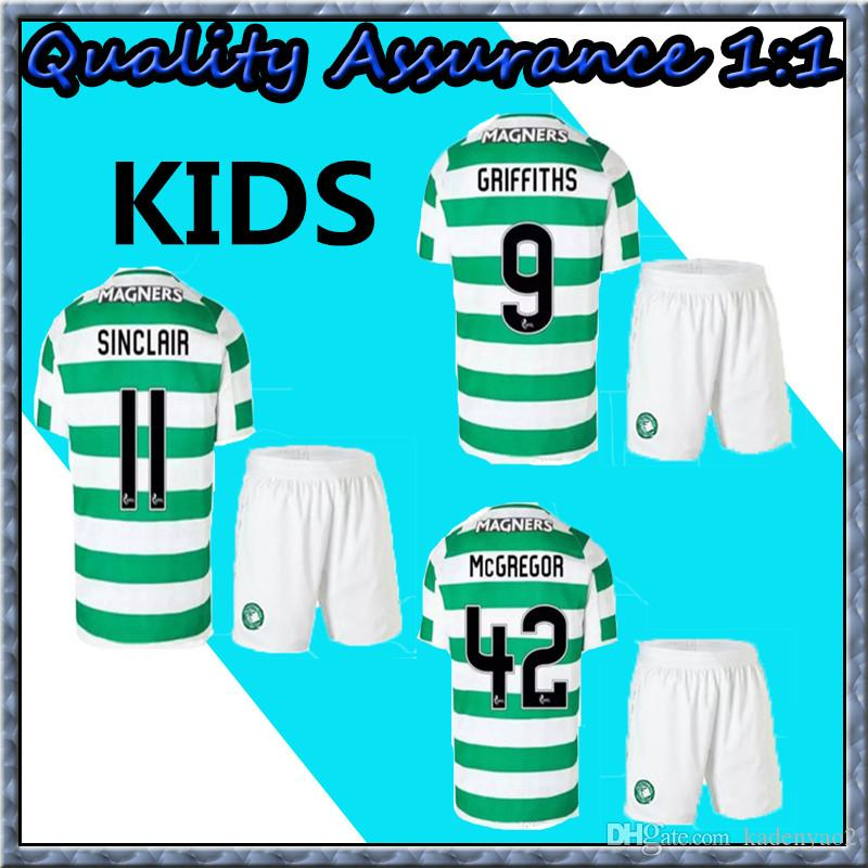 new concept 803a9 8bf44 Kids set 2018 2019 Scotland Celtic Soccer Jersey 18 19 Home away DEMBELE  GRIFFITHS LUSTIG BROWN youth child kits shirt.