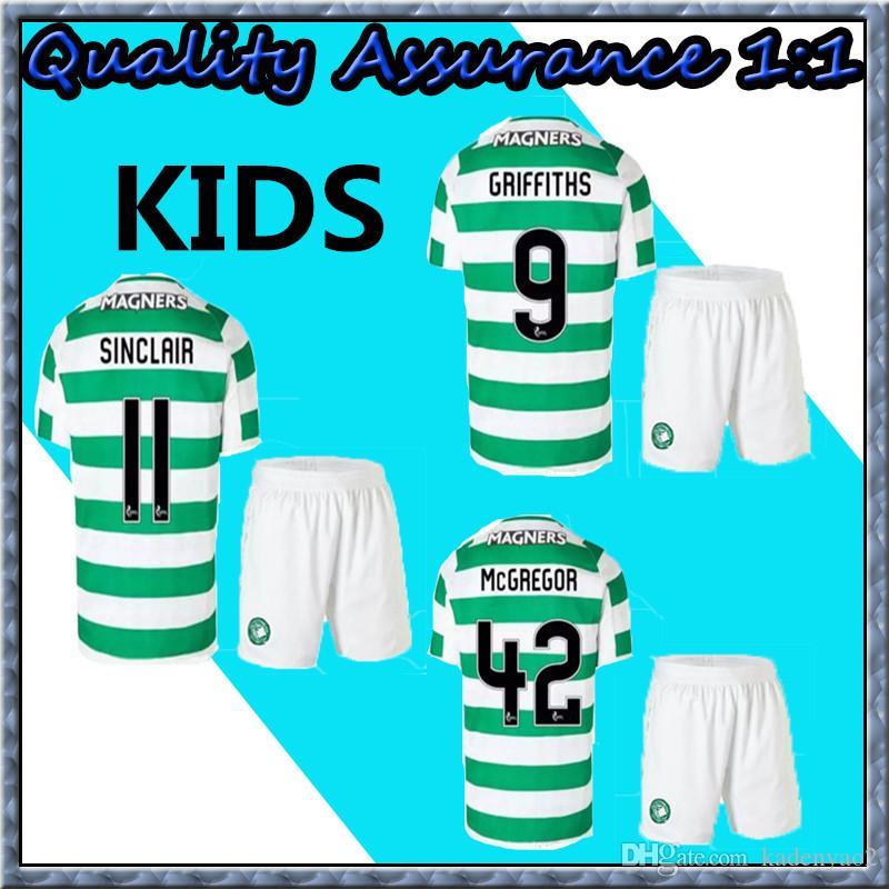 new concept 6cbdd d70e1 Kids set 2018 2019 Scotland Celtic Soccer Jersey 18 19 Home away DEMBELE  GRIFFITHS LUSTIG BROWN youth child kits shirt.
